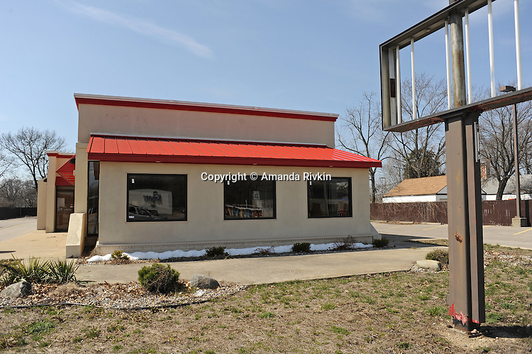 A closed store on Nappannee Street in Elkhart, Indiana on April 8, 2009.  The city has seen a dramatic increase in unemployment in the last year from 4.5% to 20% as RV dealerships and manufacturers shed jobs with the onset of the global economic recession and the precarious nature of the American auto and housing markets.