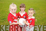 Ava Lyons, Dylan O'Mahony, Olea McGrath enjoying the Ardfert GAA, club  football summer Cul Camp on Thursday