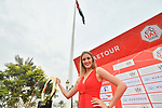 The trophy is presented on stage before the start of Stage 5 of the 2019 UAE Tour, running 181km form Sharjah to Khor Fakkan, Dubai, United Arab Emirates. 28th February 2019.<br /> Picture: LaPresse/Massimo Paolone | Cyclefile<br /> <br /> <br /> All photos usage must carry mandatory copyright credit (&copy; Cyclefile | LaPresse/Massimo Paolone)