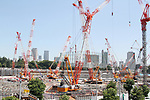 A general view of the New National Stadium under construction on July 15, 2017 in Shinjuku-ku Tokyo, Japan.<br /> (Photo by Hiroyuki Ozawa/AFLO)