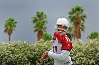 May 20, 2009; Tempe, AZ, USA; Arizona Cardinals wide receiver Larry Fitzgerald during organized team activities at the Cardinals practice facility. Mandatory Credit: Mark J. Rebilas-