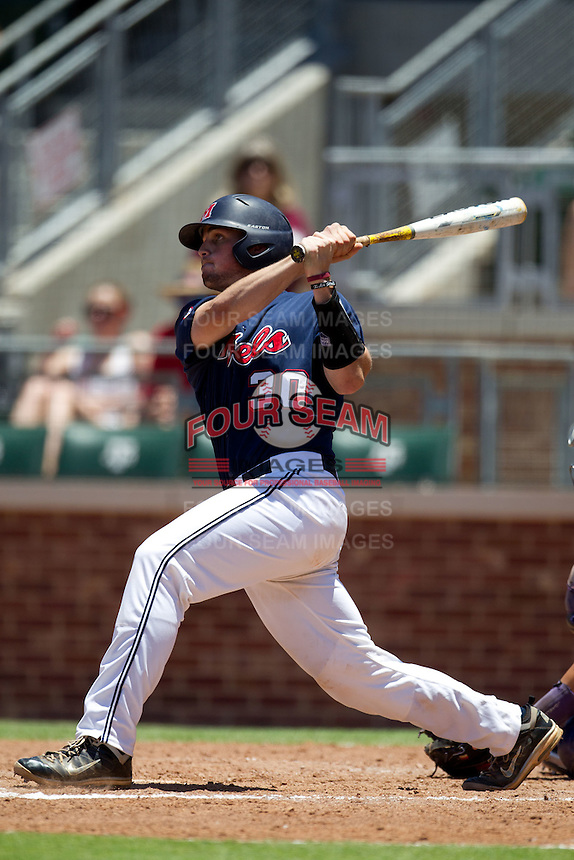 Catcher Will Allen #30 of the Ole Miss Rebels at bat during the NCAA Regional baseball game against the Texas Christian University Horned Frogs on June 1, 2012 at Blue Bell Park in College Station, Texas. Ole Miss defeated TCU 6-2. (Andrew Woolley/Four Seam Images).