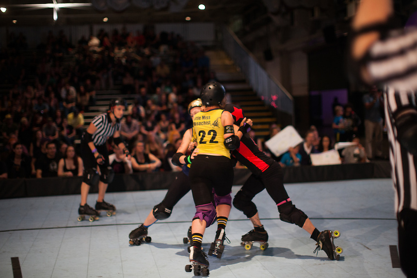 Richmond Wrecking Belles hosted the Oakland Outlaws in the 2015 season opener for both Bay Area Derby Girl teams at The Craneway Pavilion on Saturday March 14, 2015. Oakland won 131-127.