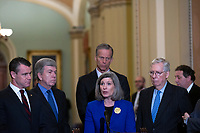 United States Senator Joni Ernst (Republican of Iowa) speaks to members of the media following Republican policy luncheons at the United States Capitol in Washington D.C., U.S. on Tuesday, February 11, 2020.  <br /> <br /> Credit: Stefani Reynolds / CNP/AdMedia