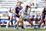 DURHAM, NC - FEBRUARY 18: Duke's Katie Cronin (18) and Northwestern's Sheila Nesselbush (7). The Duke University Blue Devils hosted the Northwestern University Wildcats on February 18, 2018, at Koskinen Stadium in Durham, NC in women's college lacrosse match. Duke won the game 9-8.