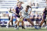 DURHAM, NC - FEBRUARY 18: Duke's Katie Cronin (18) and Northwestern's Sheila Nesselbush (7). The Duke University Blue Devils hosted the Northwestern University Wildcats on February 18, 2018, at Koskinen Stadium in Durham, NC in women's college lacrosse match. Duke won the game 9-8.