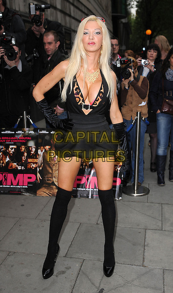 "ALICIA DOUVALL.The premiere of ""Pimp"", Odeon Covent Garden, London, England. .19th May 2010.full length black knee high socks shoes dress gloves pink leopard animal print bra bikini top hands on hips head cleavage playsuit shorts plunging neckline plastic surgery implants boob job .CAP/BEL.©Tom Belcher/Capital Pictures."