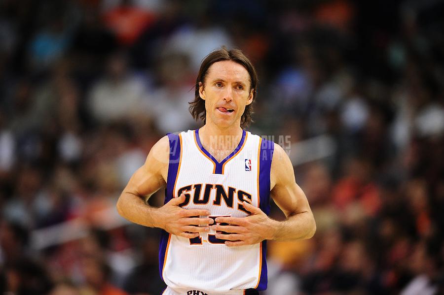 Mar. 30, 2011; Phoenix, AZ, USA; Phoenix Suns guard (13) Steve Nash against the Oklahoma City Thunder at the US Airways Center. Mandatory Credit: Mark J. Rebilas-.