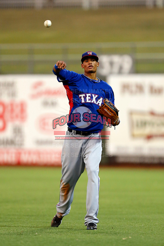 Jairo Beras #32 of the AZL Rangers during a game against the AZL Royals at Surprise Stadium on July 15, 2013 in Surprise, Arizona. AZL Rangers defeated the AZL Royals, 3-2. (Larry Goren/Four Seam Images)