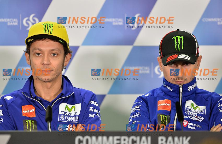 Losail (Qatar) 16-03-2016 - conferenza stampa motogp / Press Conference Qatar / foto Luca Gambuti/Image Sport/Insidefoto<br /> nella foto: Valentino Rossi-Jorge Lorenzo