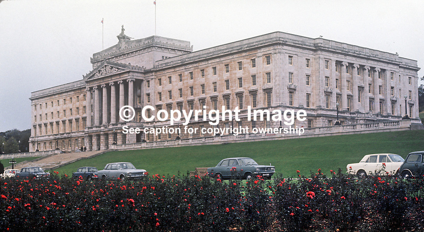 N Ireland Parliament, Stormont, Belfast, UK, October 1970, 197010000315<br /> <br /> Copyright Image from Victor Patterson, 54 Dorchester Park, Belfast, UK, BT9 6RJ<br /> <br /> t1: +44 28 9066 1296<br /> t2: +44 28 9002 2446<br /> m: +44 7802 353836<br /> <br /> <br /> e1: victorpatterson@me.com<br /> e2: victorpatterson@gmail.com<br /> <br /> www.victorpatterson.com<br /> <br /> IMPORTANT: Please see my Terms and Conditions of Use at www.victorpatterson.com