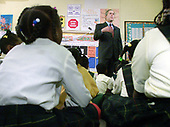 "United States President George W. Bush speaks to students about the importance of reading at the J.C. Nalle Elementary School in Washington, D.C. on February 9, 2001. After his remarks the President read the book ""More Than Anything Else"" to the students and then took some questions from the press.<br /> Credit: Mark Wilson / Pool via CNP"