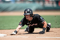 Louisville Cardinals shortstop Tyler Fitzgerald (2) dives back to first base during Game 3 of the NCAA College World Series against the Vanderbilt Commodores on June 16, 2019 at TD Ameritrade Park in Omaha, Nebraska. Vanderbilt defeated Louisville 3-1. (Andrew Woolley/Four Seam Images)