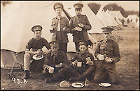 BNPS.co.uk (01202 558833)<br /> Pic: ChristinaReynolds/BNPS<br /> <br /> ***Please use full byline***<br /> <br /> Percy Buck (far right) with Hertfordshire regiment soldiers. <br /> <br /> The incredible story of how a dying soldier's last wish for a photo he was found holding<br /> be returned to his family was fulfilled by the German who killed him has emerged.<br /> <br /> Sergeant Percy Buck clutched the black and white photo of his wife Bertha and young son Cyril as he lay fatally wounded in a shell hole on the Western Front.<br /> <br /> On the back, he had earlier written his address and asked for whoever found the photo to post it back to his loved ones in the event of his death.<br /> <br /> Sgt Buck would have assumed it would be a British comrade who would do the kindly deed if required.<br /> <br /> But the person who recovered the poignant image from his body was Gefreiter Josef Wilczek, the German soldier who is most likely to have fired the shots that killed Sgt Buck.