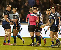 3rd January 2020; AJ Bell Stadium, Salford, Lancashire, England; English Premiership Rugby, Sale Sharks versus Harlequins;  Luke James to the right of the referee Ian Tempest scores the third try for Sale Sharks to make the score 24-10 - Editorial Use