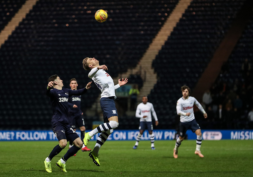 Preston North End's Brad Potts competing with Derby County's Tom Lawrence  <br /> <br /> Photographer Andrew Kearns/CameraSport<br /> <br /> The EFL Sky Bet Championship - Preston North End v Derby County - Friday 1st February 2019 - Deepdale Stadium - Preston<br /> <br /> World Copyright © 2019 CameraSport. All rights reserved. 43 Linden Ave. Countesthorpe. Leicester. England. LE8 5PG - Tel: +44 (0) 116 277 4147 - admin@camerasport.com - www.camerasport.com