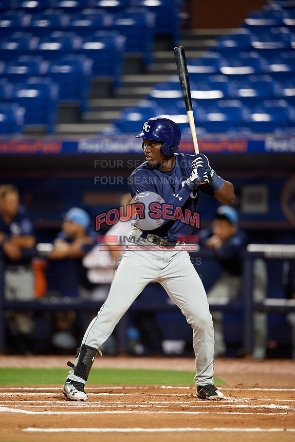Charlotte Stone Crabs Jesus Sanchez (4) at bat during the second game of a doubleheader against the St. Lucie Mets on April 24, 2018 at First Data Field in Port St. Lucie, Florida.  St. Lucie defeated Charlotte 5-3.  (Mike Janes/Four Seam Images)