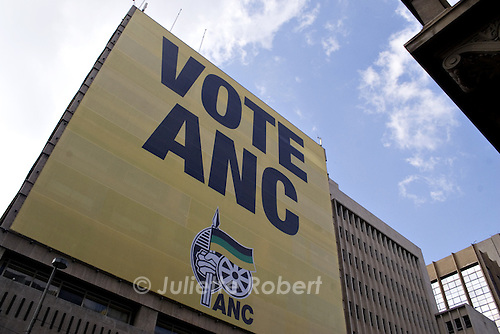 Electoral poster for ANC, at the party HQ in downtown Johannesburg. April 2009