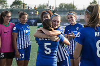 Allston, MA - Saturday August 19, 2017: Amanda DaCosta, Megan Oyster during a regular season National Women's Soccer League (NWSL) match between the Boston Breakers and the Orlando Pride at Jordan Field.