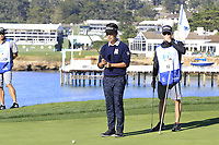 Kevin Na (USA) on the 5th green during Sunday's Final Round of the 2018 AT&amp;T Pebble Beach Pro-Am, held on Pebble Beach Golf Course, Monterey,  California, USA. 11th February 2018.<br /> Picture: Eoin Clarke | Golffile<br /> <br /> <br /> All photos usage must carry mandatory copyright credit (&copy; Golffile | Eoin Clarke)