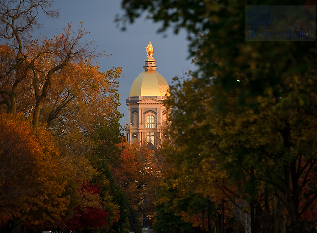 Oct. 28, 2011; The Golden Dome as seen from the end of Notre Dame Avenue...Photo by Matt Cashore/University of Notre Dame