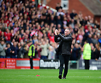 Lincoln City manager Michael Appleton applauds the fans at the final whistle<br /> <br /> Photographer Andrew Vaughan/CameraSport<br /> <br /> The EFL Sky Bet League One - Lincoln City v Sunderland - Saturday 5th October 2019 - Sincil Bank - Lincoln<br /> <br /> World Copyright © 2019 CameraSport. All rights reserved. 43 Linden Ave. Countesthorpe. Leicester. England. LE8 5PG - Tel: +44 (0) 116 277 4147 - admin@camerasport.com - www.camerasport.com