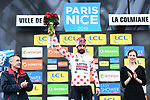 Thomas De Gendt (BEL) Lotto-Soudal takes over the mountains Polka Dot Jersey at the end of Stage 7 of the 2018 Paris-Nice running 175km from Nice to Valdeblore la Colmiane, France. 10th March 2018.<br /> Picture: ASO/Alex Broadway | Cyclefile<br /> <br /> <br /> All photos usage must carry mandatory copyright credit (&copy; Cyclefile | ASO/Alex Broadway)