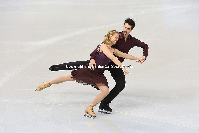 Tuesday, March 29, 2016: Madison Hubbell and Zachary Donohue (USA) skate during a practice session at the International Skating Union World Championship held at TD Garden, in Boston, Massachusetts. Eric Canha/CSM