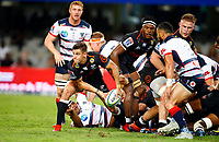 DURBAN, SOUTH AFRICA - MARCH 23: Louis Schreuder (captain) of the Cell C Sharks during the Super Rugby match between Cell C Sharks and Rebels at Jonsson Kings Park on March 23, 2019 in Durban, South Africa. Photo by Steve Haag / stevehaagsports.com
