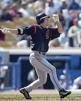 Brady Anderson of the Cleveland Indians bats during a 2002 MLB season game against the Los Angeles Dodgers at Dodger Stadium, in Los Angeles, California. (Larry Goren/Four Seam Images)