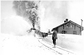 Rotary snowplow working in front of Cumbres depot.<br /> D&amp;RG  Cumbres, CO  Taken by Lively, Charles R.