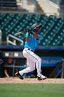 Miami Marlins Junior Sánchez (96) at bat during an Instructional League game against the Washington Nationals on September 25, 2019 at Roger Dean Chevrolet Stadium in Jupiter, Florida.  (Mike Janes/Four Seam Images)