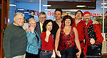Merrick, NY, USA. Feb. 17, 2008. Red Priest (in pirate gear) and Board Members of MBCCA pose after concert: L-R, ARTHUR GOTTLIEB, RUTH SILVERMAN, BARRY SILVERMAN, BARBARA TURCHIN, recorder player PIERS ADAMS, cellist ANGELA EAST, violinist DAVID GREENBERG, harpsichord player HOWARD BEACH, at Calhoun High School.