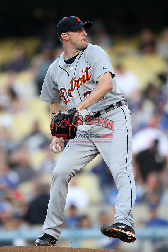 Detroit Tigers pitcher Max Scherzer #37 pitches against the Los Angeles Dodgers at Dodger Stadium on June 21, 2011 in Los Angeles,California. (Larry Goren/Four Seam Images)