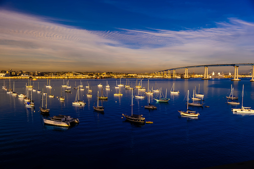 View of sailboats in San Diego Bay from the Coronado Bridge, San Diego, California USA.