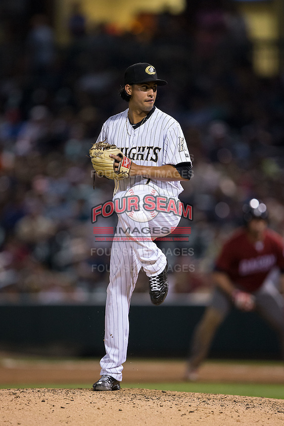 Charlotte Knights relief pitcher Terance Marin (9) in action against the Lehigh Valley Iron Pigs at BB&T BallPark on June 3, 2016 in Charlotte, North Carolina.  The Iron Pigs defeated the Knights 6-4.  (Brian Westerholt/Four Seam Images)