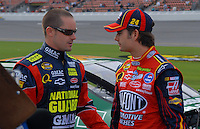 Feb 11, 2007; Daytona, FL, USA; Nascar Nextel Cup drivers Casey Mears (25) and teammate Jeff Gordon (24) during qualifying for the Daytona 500 at Daytona International Speedway. Mandatory Credit: Mark J. Rebilas