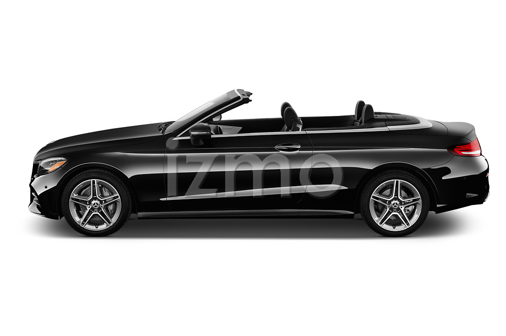 Car Driver side profile view of a 2019 Mercedes Benz C-Class C300- 2 Door Convertible Side View
