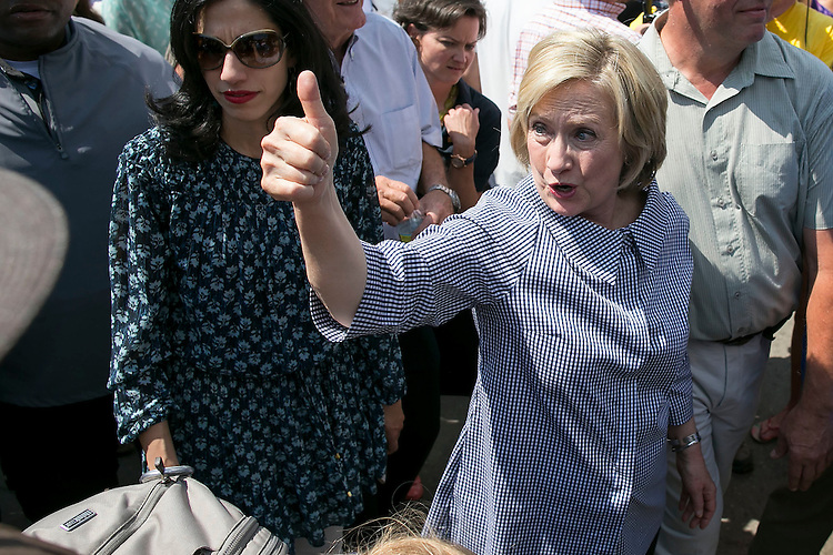 UNITED STATES - August 15: Democratic presidential candidate Hillary Rodham Clinton greets fairgoers as she tours the Iowa State Fair in Des Moines, Iowa, on Saturday, August 15, 2015. (Photo By Al Drago/CQ Roll Call)