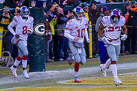 New York Giants quarterback Josh Johnson (8), quarterback Eli Manning (10) and running back Rashad Jennings (23) prior to a game against the Green Bay Packers on January 8th, 2017 at Lambeau Field in Green Bay, Wisconsin.  Green Bay defeated New York 38-13. (Brad Krause/Krause Sports Photography)