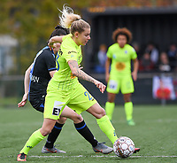 20191123 – BRUGGE, BELGIUM : Brugge's  Frieke Temmerman (left) pictured defending on Gent's Tine Schryvers during a women soccer game between Dames Club Brugge and K AA Gent Ladies on the ninth matchday of the Belgian Superleague season 2019-2020 , the Belgian women's football  top division , saturday 23 th November 2019 at the Jan Breydelstadium – terrain 4  in Brugge  , Belgium  .  PHOTO SPORTPIX.BE | DAVID CATRY