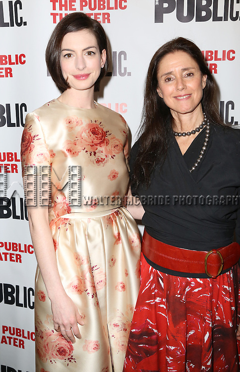Anne Hathaway and Julie Taymor attends the Opening Night Celebration of 'Grounded' at the The Public Theatre on April 24, 2015 in New York City.