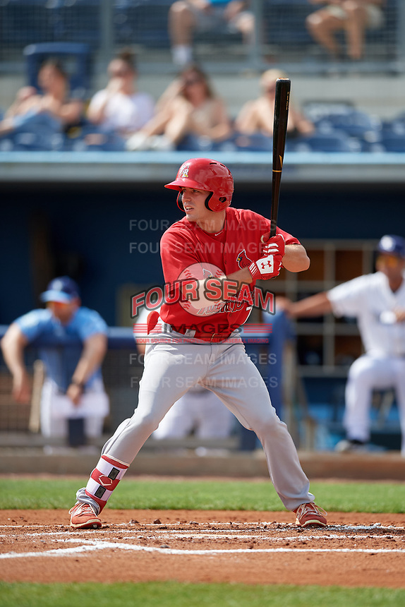 Palm Beach Cardinals Justin Toerner (7) during a Florida State League game against the Charlotte Stone Crabs on April 14, 2019 at Charlotte Sports Park in Port Charlotte, Florida.  Palm Beach defeated Charlotte 5-3.  (Mike Janes/Four Seam Images)