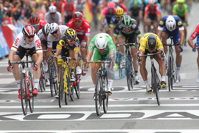 Green Jersey Mark Cavendish (GBR) Dimension Data pips Andre Greipel (GER) Lotto-Soudal by millimetres at the finish line of Stage 3 of the 2016 Tour de France, running 223.5km from Granville to Angers, France . 4th July 2016.<br /> Picture: Heinz Zwicky/Radsport.CH | Newsfile<br /> <br /> <br /> All photos usage must carry mandatory copyright credit (&copy; Newsfile | Heinz Zwicky)