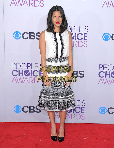 Olivia Munn.The 2013 People's Choice Awards held at Nokia Live in Los Angeles, California 9th January 2013                                                                   .full length black lace white skirt top sleeveless .CAP/DVS.©DVS/Capital Pictures.