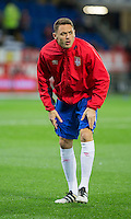 Nemanja Matic of Serbia warms up ahead of the FIFA World Cup Qualifying match between Wales and Serbia at the Cardiff City Stadium, Cardiff, Wales on 12 November 2016. Photo by Mark  Hawkins.