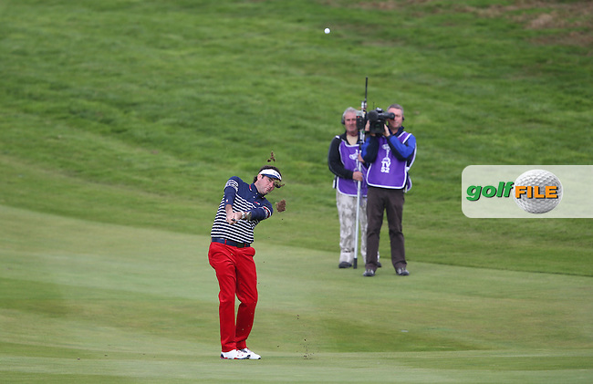 Bubba Watson (USA) plays second shot to the first hole during Sunday's Singles at the 2014 Ryder Cup from Gleneagles, Perthshire, Scotland. Picture:  David Lloyd / www.golffile.ie