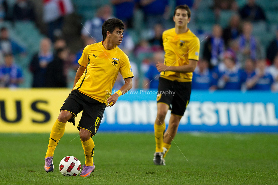 SYDNEY, AUSTRALIA - JULY 31, 2010: Leonardo Rodrigues Pereira of Athens controls the ball during the match between AEK Athens FC and Glasgow Rangers at the 2010 Sydney Festival of Football held at the Sydney Football Stadium on July 31, 2010 in Sydney, Australia. (Photo by Sydney Low / www.syd-low.com)