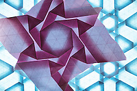 New York, NY, USA - December 14, 2011: Two Origami tessellations folded by Esmé Cribb.