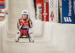 5 December 2015: Miriam Kastlunger, competing for Austria, crosses the finish line on her second run of the Viessmann World Cup Women's Luge, with a combined 2-run time of 1:29.088 and a 12th place result at the Olympic Sports Track in Lake Placid, New York, USA. Mandatory Credit: Ed Wolfstein Photo *** RAW (NEF) Image File Available ***